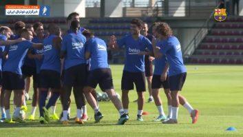 بارسلونا ؛ تمرین ستاره های جدید باشگاه فوتبال بارسلونا اسپانیا ؛ خبرگزاری پارس فوتبال
