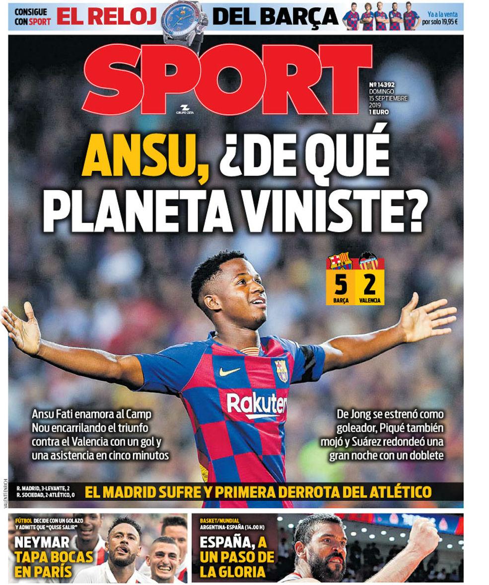 آنسو فاتی در جریان پیروزی 5-2 این تیم مقابل والنسیا ستاره اصلی میدان بود آنسو فاتی امروز به موضوع اصلی روزنامههای کاتالونیا تبدیل شده است.