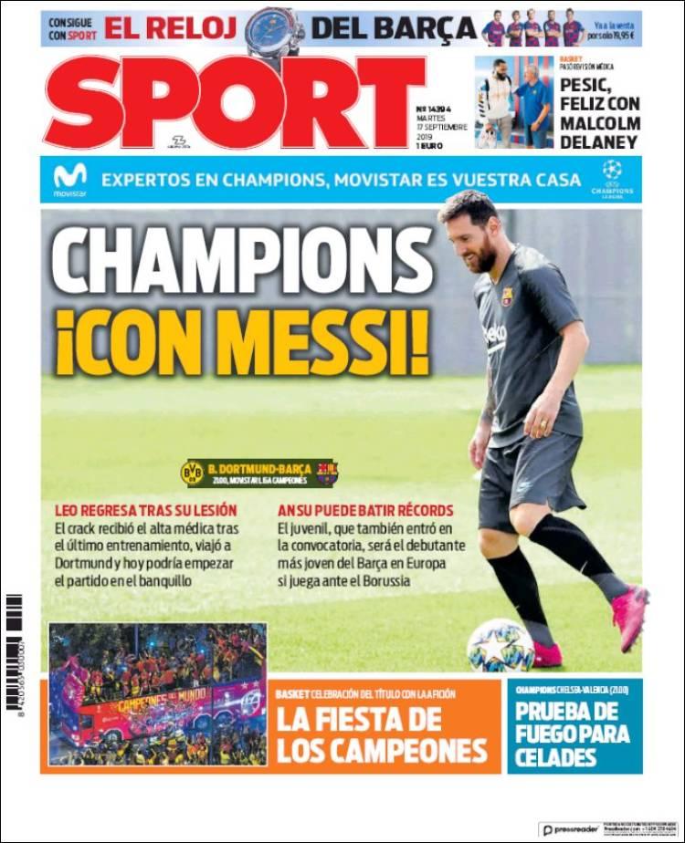 بارسلونا در اولین دیدار خود در مرحله گروهی در حالی مهمان دورتموند است که مسی، بعد از مدتی غیبت به میادین بازخواهد گشت و پیراهن بارسلونا را به تن خواهد کرد.