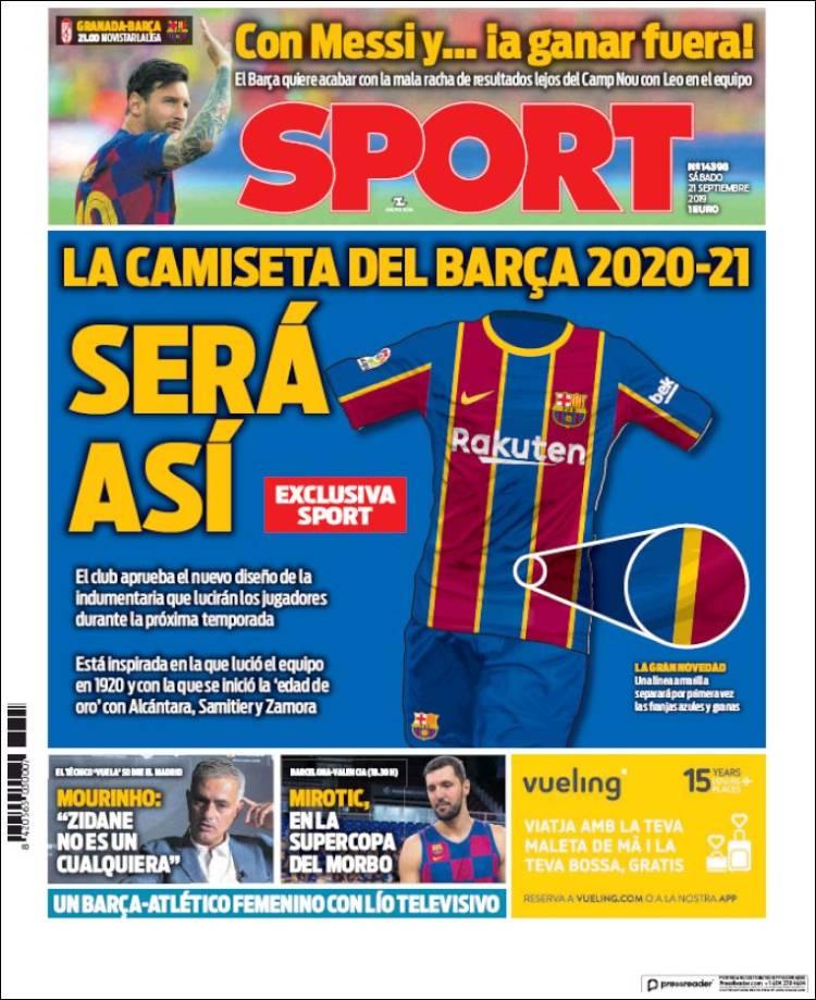 اسپورت از لباس بارسلونا رونمایی کرد. نکته جنجالی در  طرح رونمایی شده نوارهای زردی است که روی پیراهن بارسلونا قرار گرفته و نشانه جداییطلبی کاتالونیایی است.