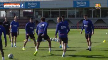 بارسلونا ، تمرین ستاره های بارسلونا برای آمادگی دیدار برابر ایبار در لالیگا