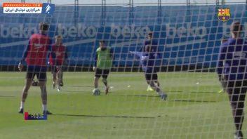 گل های دیدنی بازیکنان بارسلونا در تمرینات ماه اکتبر 2019