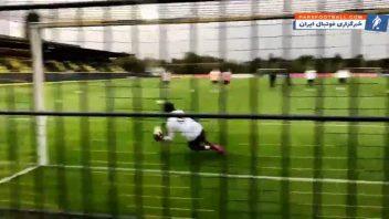 حضور سرژ گنابری درون دروازه در تمرین تیم ملی فوتبال آلمان