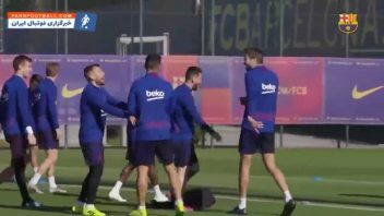 چالش سرعت بین بازیکنان بارسلونا در تمرینات