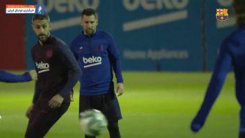 تمرین بازیکنان بارسلونا قبل از دیدار برابر سلتاویگو در لالیگا