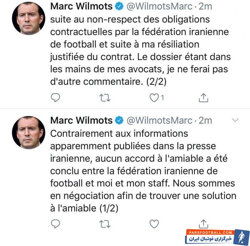 ویلموتس در تازه ترین اظهار نظر خود خبر از فسخ قراردادش با فدراسیون فوتبال داد اما تاکید کرد به دنبال پیدا کردن راه حل دوستانه برای جدایی هستند.