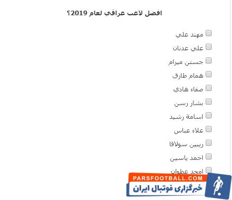 در این لیست ۱۲ بازیکنی نام بشار رسن  دیده میشود. همام طارق، هافبک سابق استقلال و کنونی تیم الاسماعیلی مصر یکی از گزینهها است.