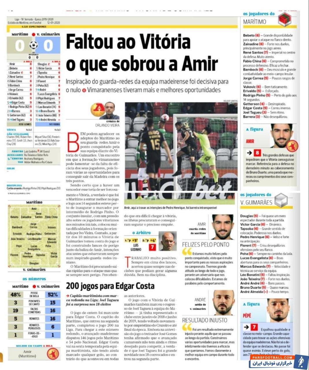 عملکرد خوب امیرعابدزاده در بازی هفته شانزدهم رقابت های لیگ فوتبال پرتغال باعث شد تا رسانه های مختلف به تمجید از عابدزاده بپردازند.