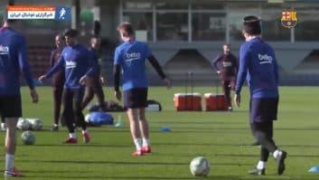 بارسلونا ؛ تمرین بازیکنان باشگاه فوتبال بارسلونا پیش از دیدار حساس برابر والنسیا