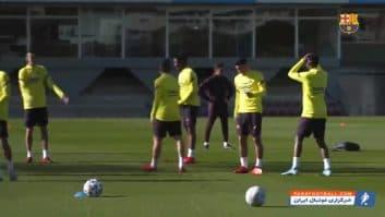 بارسلونا ؛ تمرین بازیکنان بارسلونا قبل از دیدار حساس با بیلبائو در جام حذفی