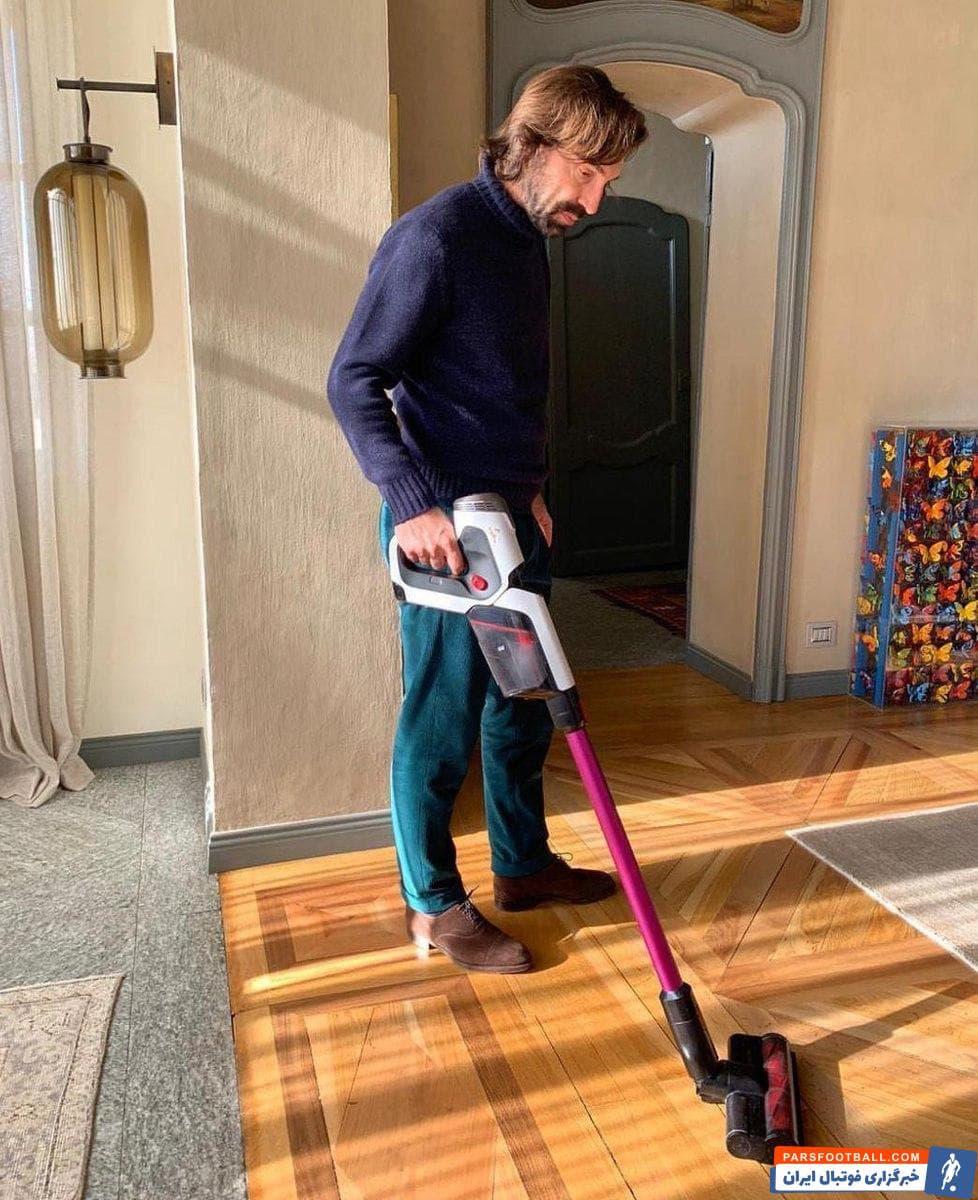 پیرلو یکی از اسطوره های بزرگ میلان و تیمملی ایتالیا است که شهرت جهانی دارد به تازگی عکسی از پیرلو در حال جارو کشیدن خانه اش در فضای مجازی منتشر شده است.