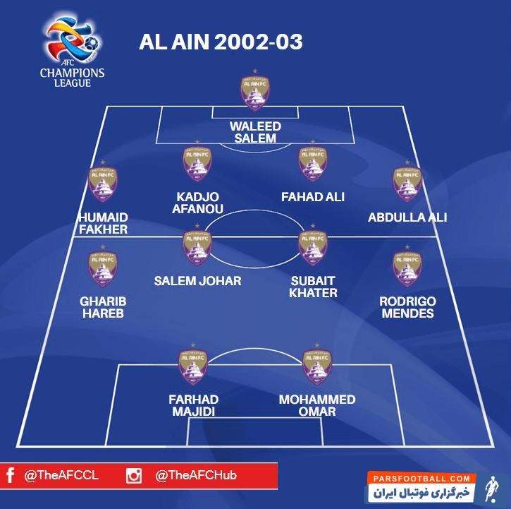 فرهاد مجیدی سرمربی کنونی استقلال به همراه العین در سال 2003 موفق به قهرمانی در آسیا شده بود که جزو 4 نامزد بهترین تیم قهرمان تاریخ لیگ قهرمانان انتخاب شد.