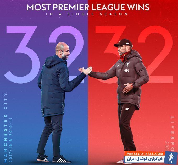 لیورپول با وجود اینکه رکورد بیشترین امتیاز در تاریخ لیگ برتر که متعلق به منچسترسیتی با ۱۰۰ امتیاز بود را نتوانست بشکند، اما به رکورد بیشترین برد رسید.