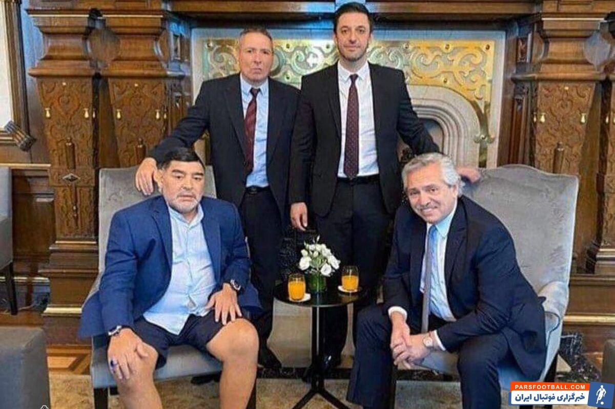 لباس جنجالی دیگو مارادونا در ملاقات با رئیسجمهور آرژانتین