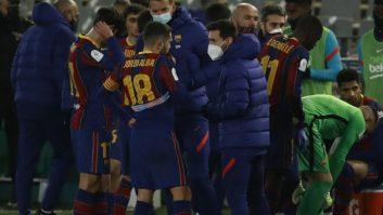 لیونل مسی در نقش مربی بارسلونا در ضربات پنالتی
