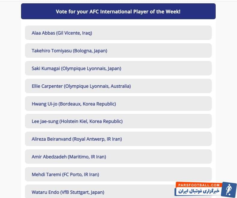 کاندید های بهترین لژیونر آسیا