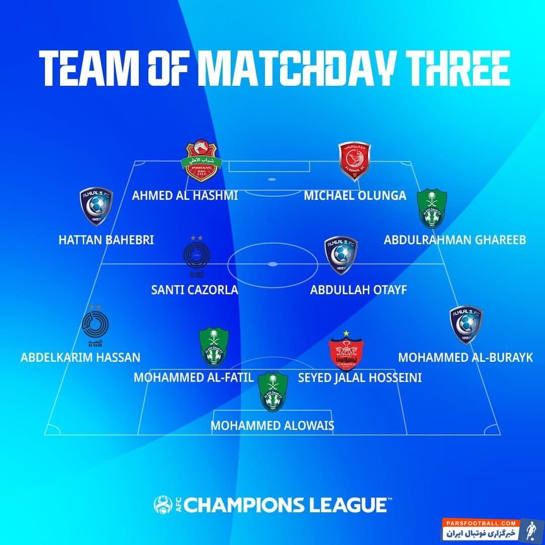 سید جلال حسینی کاپیتان پرسپولیس در تیم منتخب هفته سوم لیگ قهرمانان آسیا