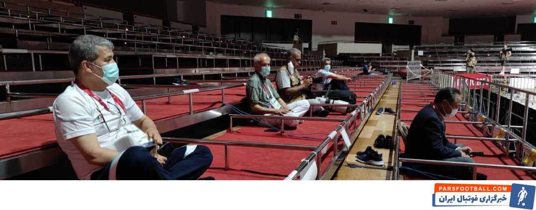 میزبان المپیک ۲۰۲۰ توکیو محل استقرار تماشاگران و مسئولان در سالن رقابتهای بوکس را به صورت سنتی طراحی کرده است.