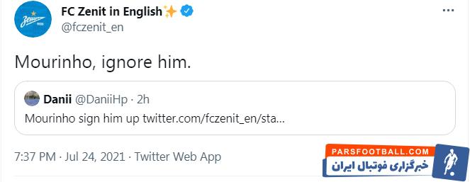 واکنش توییتر رسمی زنیت به خبر انتقال سردار آزمون به رم ؛ مورینیو، او را نادیده بگیر