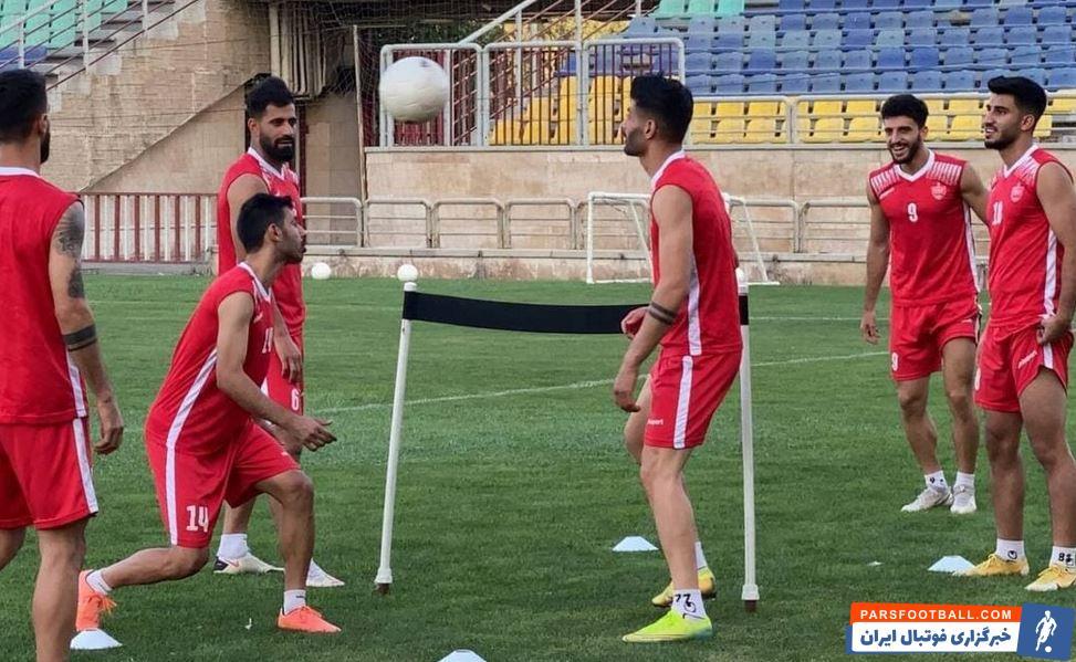 تمرین بانشاط بازیکنان پرسپولیس در آستانه بازی سرخ ها مقابل ماشین سازی در لیگ برتر