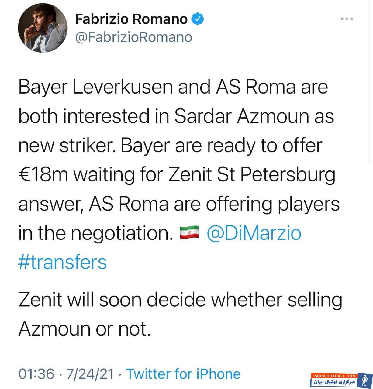 باشگاه بایرلورکوزن آلمان هم با ۱۸ میلیون یورو خواهان جذب سردار آزمون است و باید دید در نهایت سرنوشت مهاجم تیم ملی ایران چه خواهد شد.