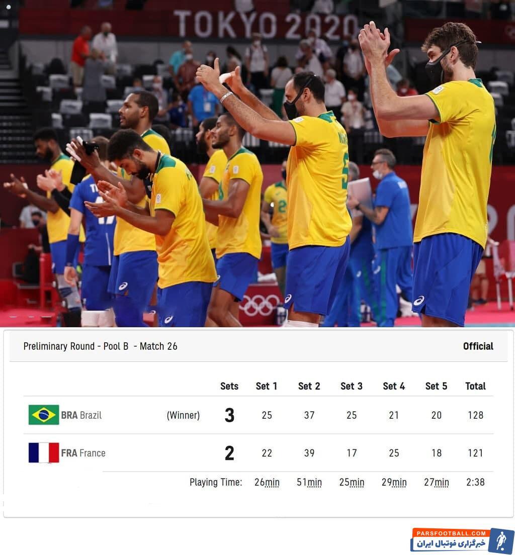 دیدار بین دو تیم برزیل و فرانسه در رقابتهای والیبال المپیک ۲۰۲۰ که با پیروزی ۳ بر ۲ زردپوشان به پایان رسید.